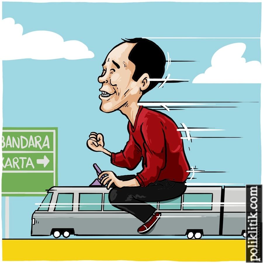 Gaya Santai Jokowi Resmikan Kereta Bandara
